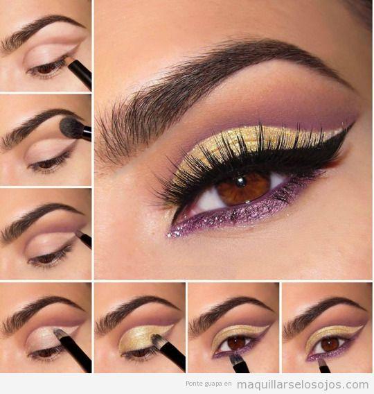 3 tutoriales de maquillajes de ojos con tonos lila para for Sombras de ojos para ojos marrones