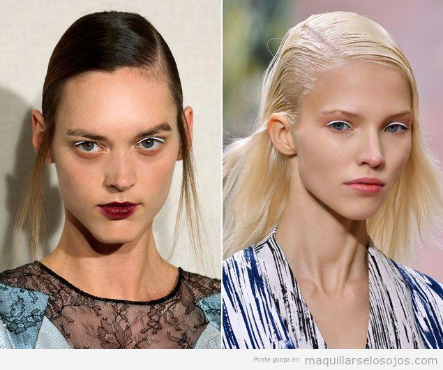Maquillaje de ojos eyeliener blanco para chicas rubias, desfile Kenzo 2