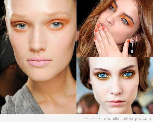 Maquillaje de ojos azules con sombra naranja