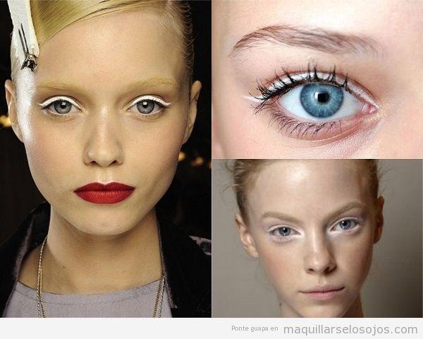 Maquillaje de ojos azules con eyeliner blanco