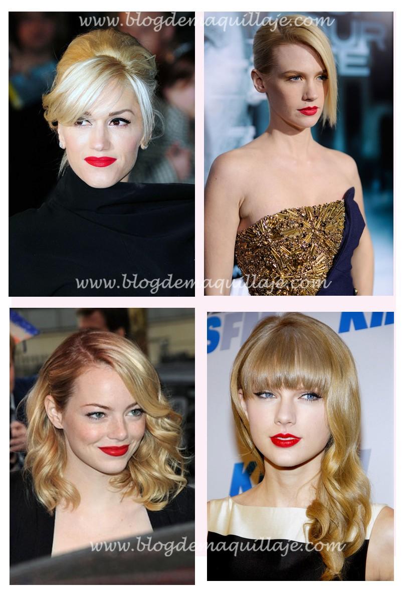 Cuatro ejemplos de como llevar el rojo siendo rubia de piel clara